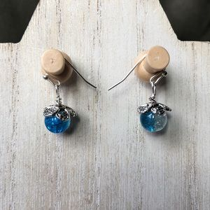 Handmade Crackle Blue Dew Drop Earrings